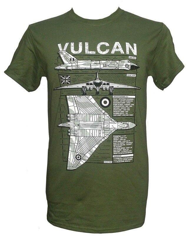 Avro Vulcan bombardero-Falklands War/verde militar camiseta con diseño de Blueprint