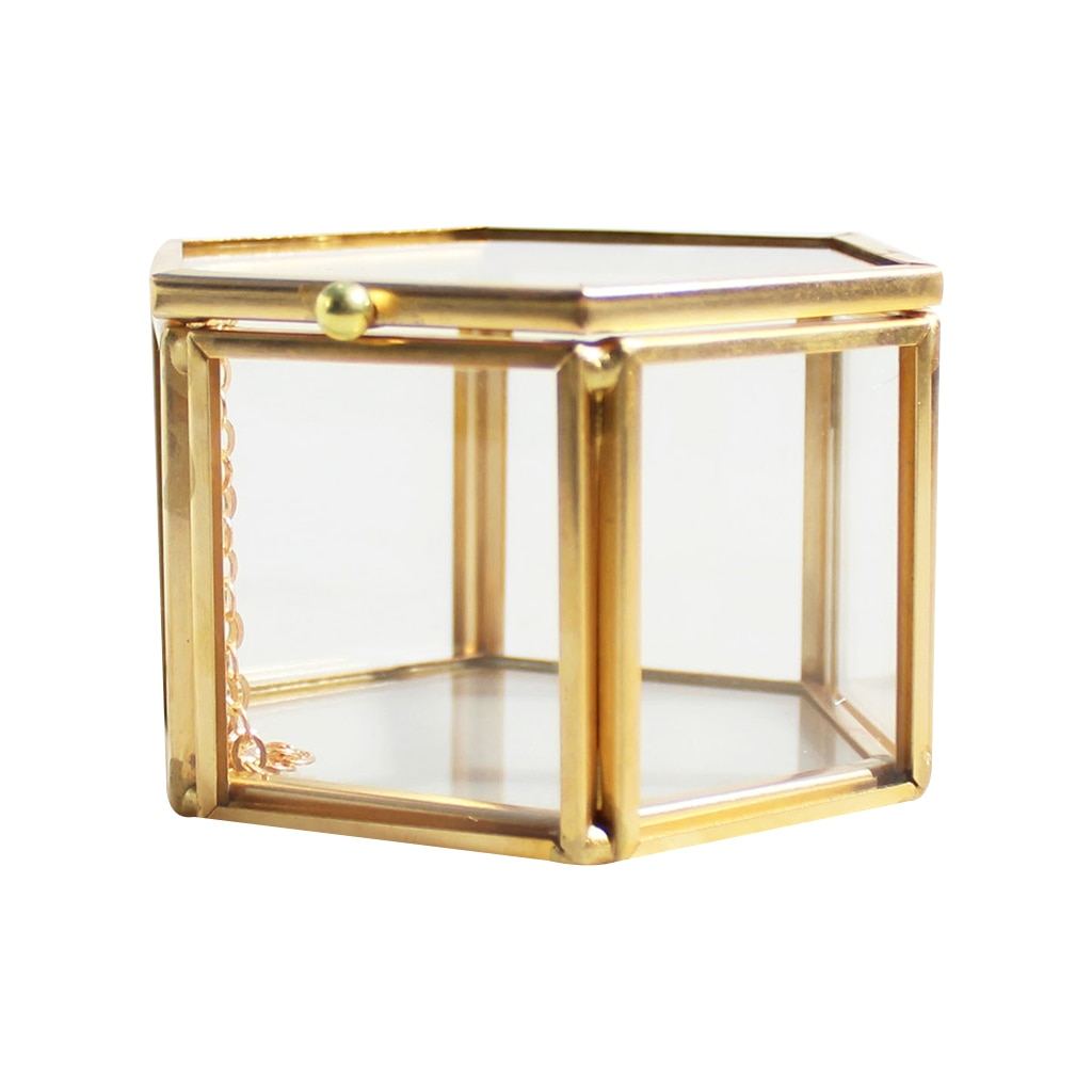 Геометрическая прозрачная стеклянная коробка для ювелирных изделий, держатель для хранения ювелирных изделий, настольный контейнер для суккулентов, для домашнего хранения ювелирных изделий