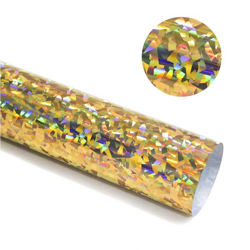 Holograma Transferencia de Calor vinilo diamante oro vinilo película HTV para la ropa planchado en transferencia hojas de vinilo fácil de cortar y lavable maleza