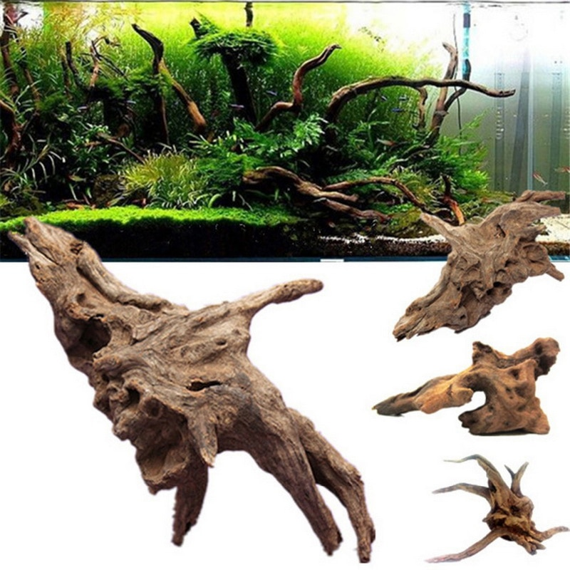 Madera Natural madera de tronco flotante árbol acuario pecera decoración de la planta ornamento paisaje flor hierba Decoración