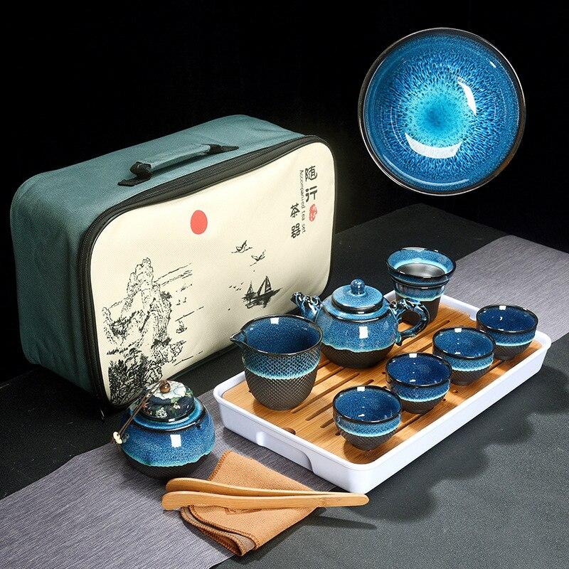 Chinese Tea Set Blue Amber Glaze Ceramic Jingdezhen temmoku glaze Exquisite Set Kung Fu Tea Cup portable Teapot Gaiwan Tea Cups