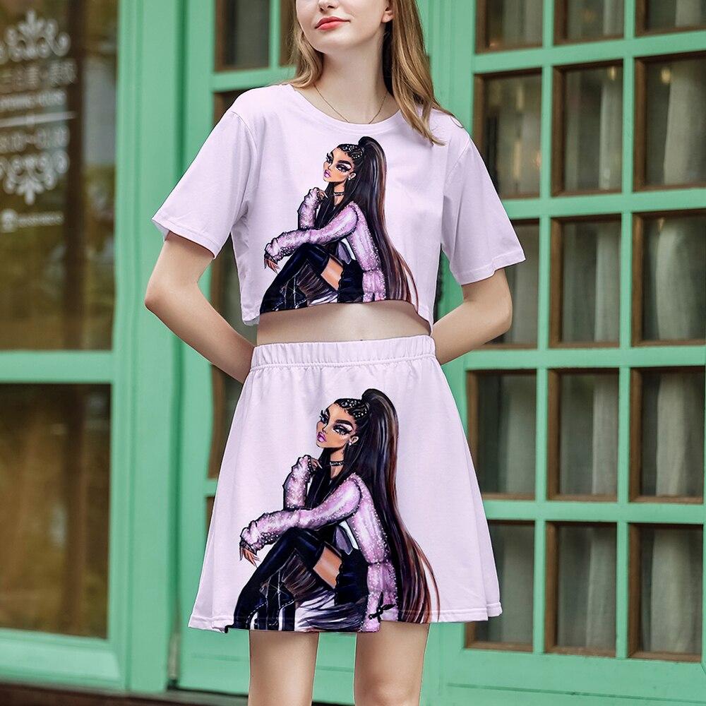 Ariana Grande mujer 3D Naked Navel camiseta + Falda corta elegante comodidad de dos piezas Ariana Grande Girl Sexy Hip-Hop Casual Set