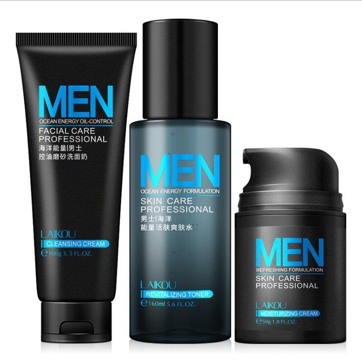 3 unids/set crema hidratante Facial para hombres/Tóner/limpiador exfoliantes faciales acné retráctil Control de aceite para la piel Crema de cuidado de la piel para hombres