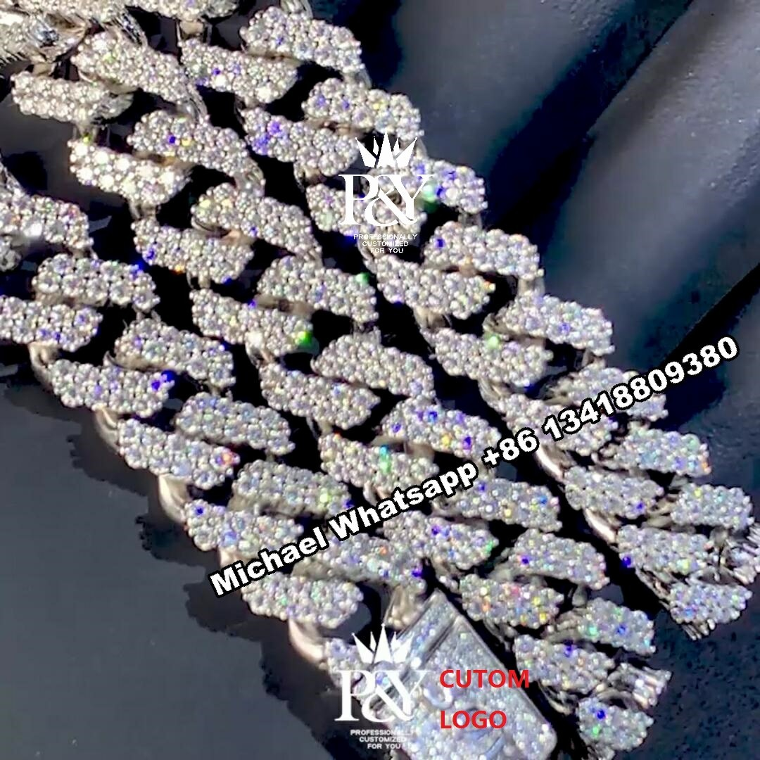 P&Y Customized Iced Out Men Jewelry 925 Sterling Silver Cuban Link Chain VVS Moissanite Diamond Custom Hip Hop Jewelry Necklace