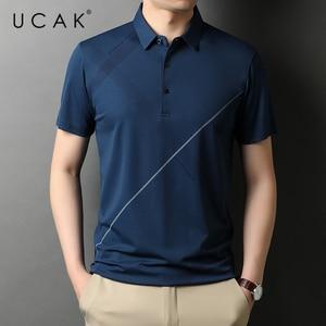 UCAK Brand Classic Turn-down Collar Cotton T Shirt Men Clothes Summer New Fashion Tops Streetwear Casual Soft Tshirt Homme U5480