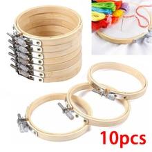10 unids/set 8 cm/10 cm opcional DIY Cruz punto de cruz aro de bambú aro de Cruz anillo de soporte aguja de madera herramientas de artesanía