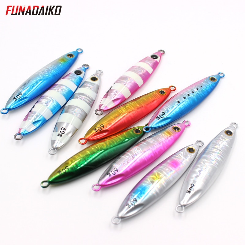 FUNADAIKO 5 uds simultaneamente lento señuelo de jigging costa de plantilla luminosa artificial matel plantilla lure15g20g/30g/40g/60g cebo de pesca