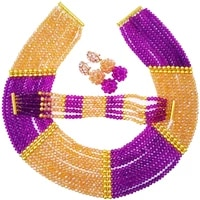 beautiful purple and gold ab crystal bead nigerian necklace african wedding beads costume jewelry set chk 06