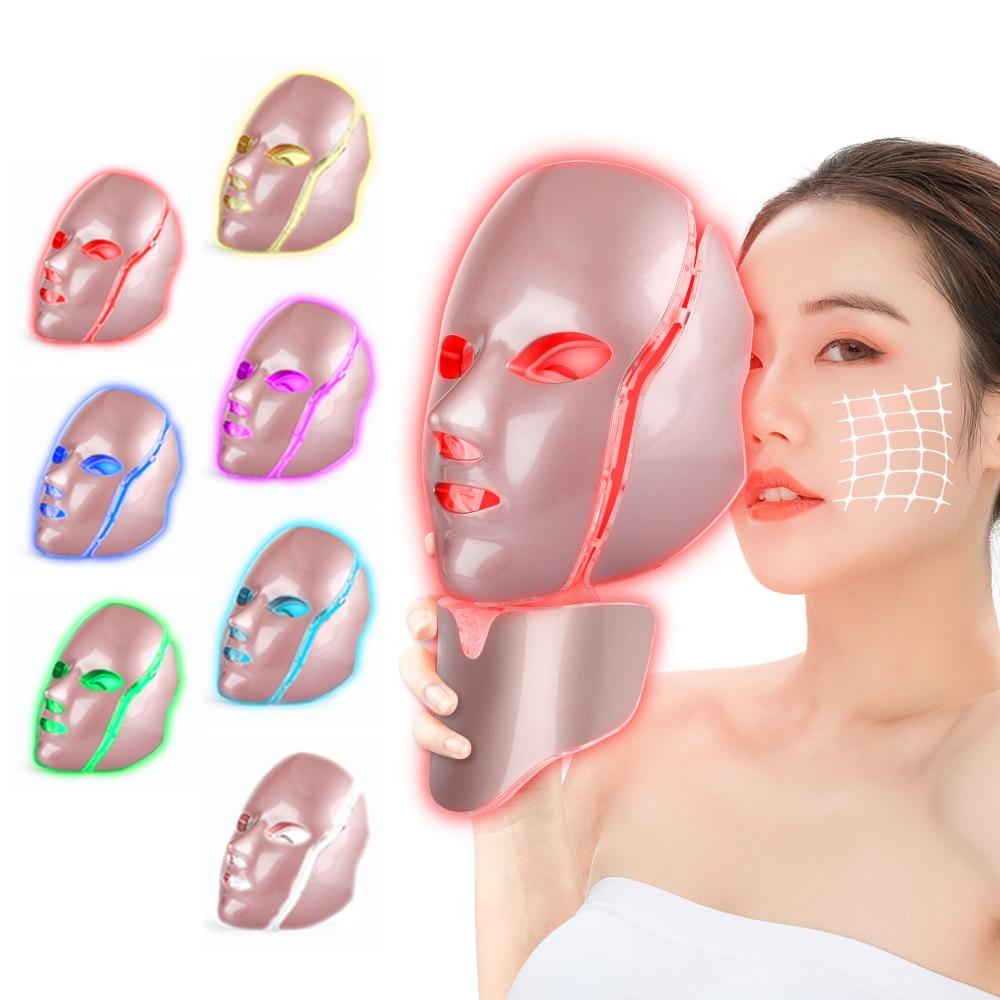 مصباح ليد علاج للوجه قناع مع الرقبة 7 ألوان العلاج بالضوء تبييض العناية بالبشرة LED قناع ماكينة تجميل الوجه المضادة للتجاعيد