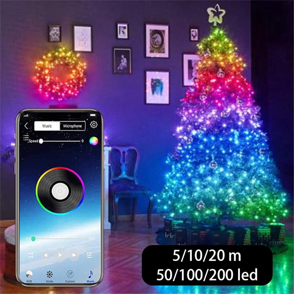 USB LED Lichterketten Bluetooth App Control Lichterketten Lampe wasserdichte Outdoor-Lichterketten für Christbaumschmuck