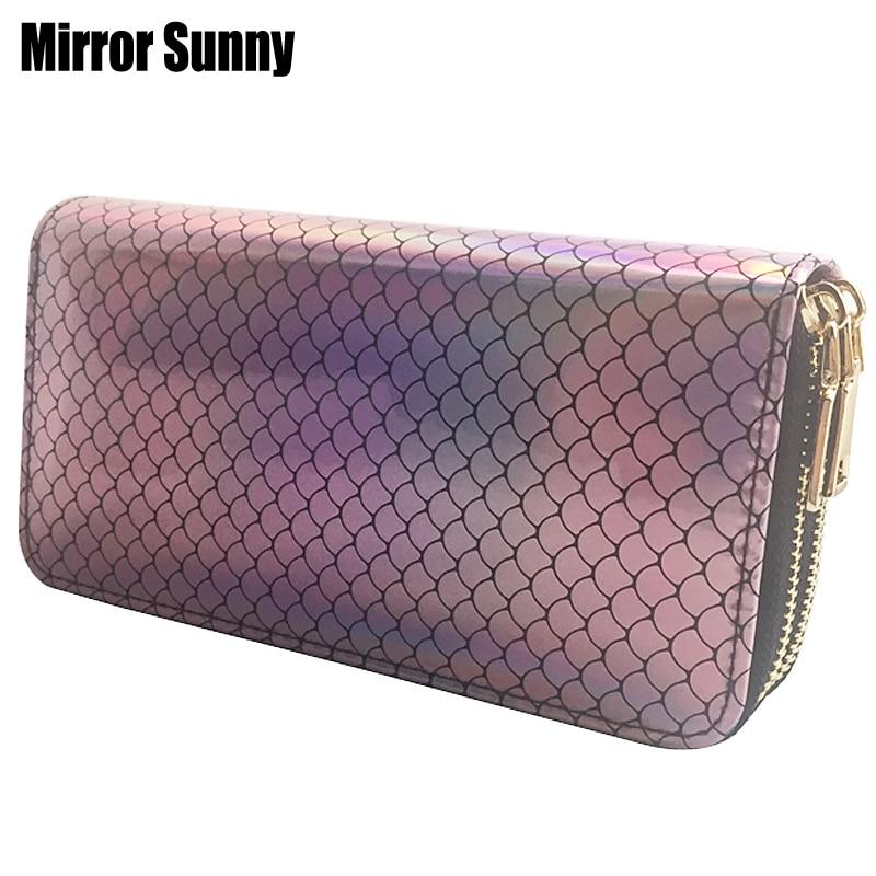 New Fashion Women's Double Zipper Purse Radium Fish Scale PU Leather Clutch Wallet Large Capacity Cellphone Bag Money Pocket