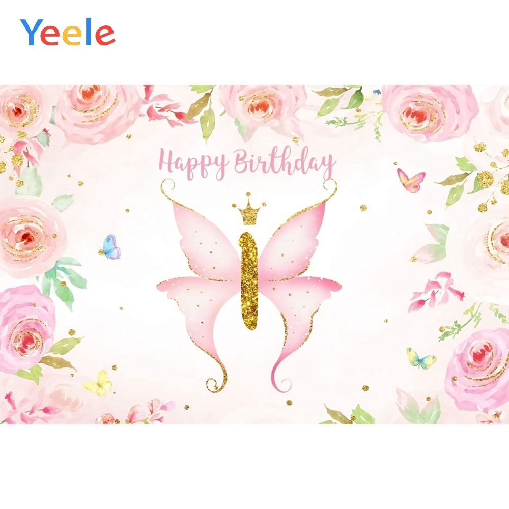 Gold Point Flower Butterfly Newborn Baby birthday Party Backdrop Photography Custom Photographic Background For Photo Studio mehofoto baby shower photo backdrop for photography little princess newborn flower background gold crown birthday party booth