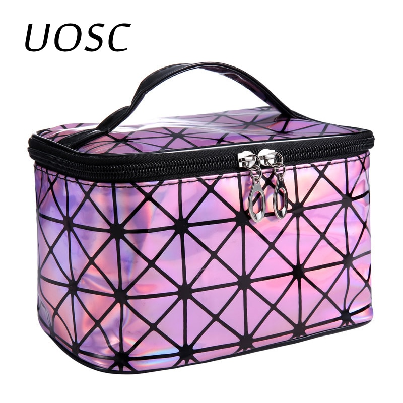 UOSC Multifunctional Cosmetic Bag Women Leather Travel Make Up Necessaries Organizer Zipper Makeup C