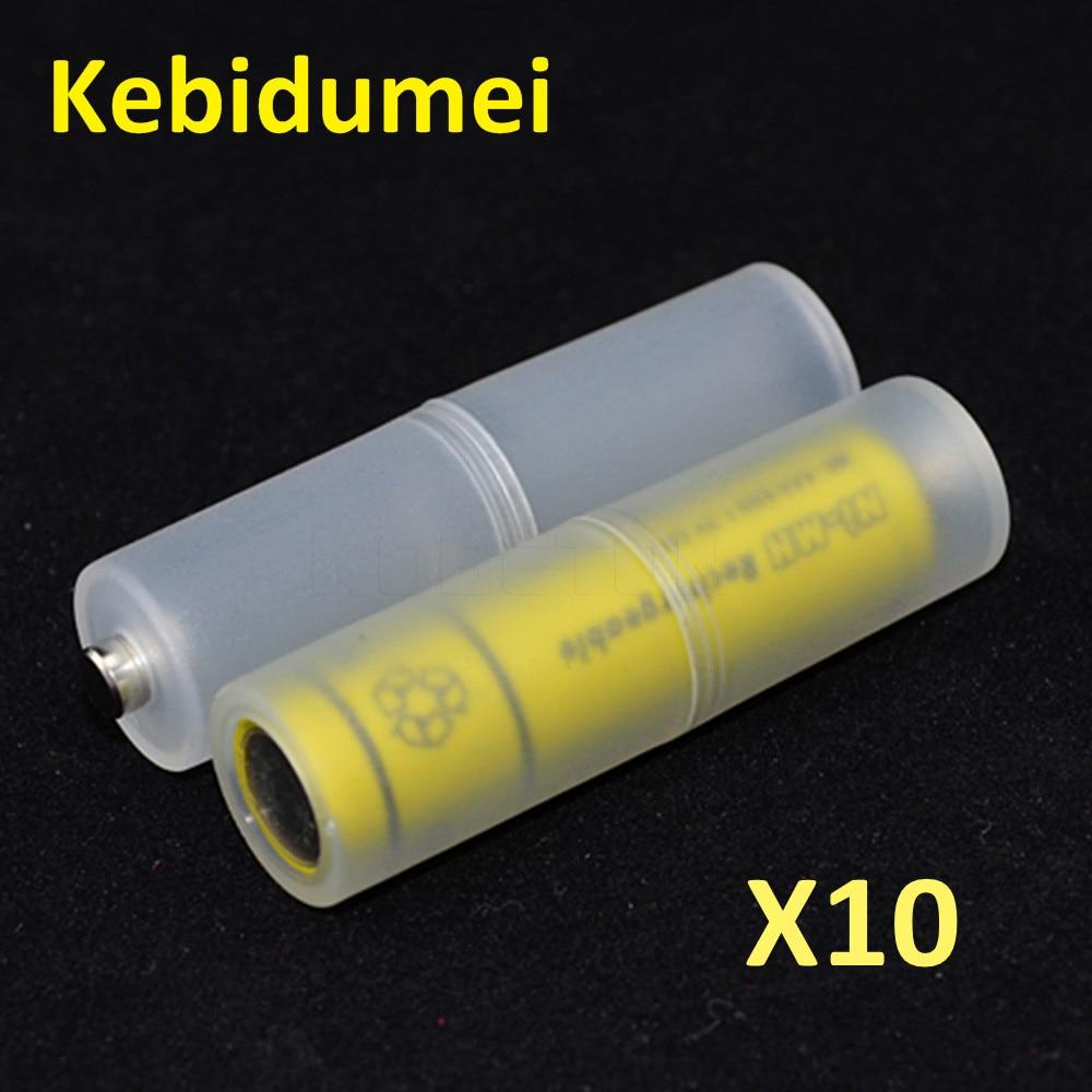 Kebidumei 10 Uds. AAA a tamaño AA adaptador de convertidor de batería soporte de baterías caja de almacenamiento conmutador de caja de plástico para carcasa AAA a AA