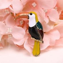 Fashion Enamel Colorful Toucan Bird Shape Animal Brooch Pin Jewelry Bag Decoration