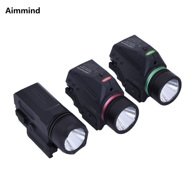 Tactical LED Flashlight Green / Red Laser Sight For 20mm Rail Mini Glock Pistol Gun Light lanterna Airsoft Light