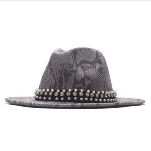 Women Men Wool Fedora Hat Snake skin Elegant Pearl Lady Dad Winter Autumn Wide Brim Jazz Church Godfather Sombrero Caps