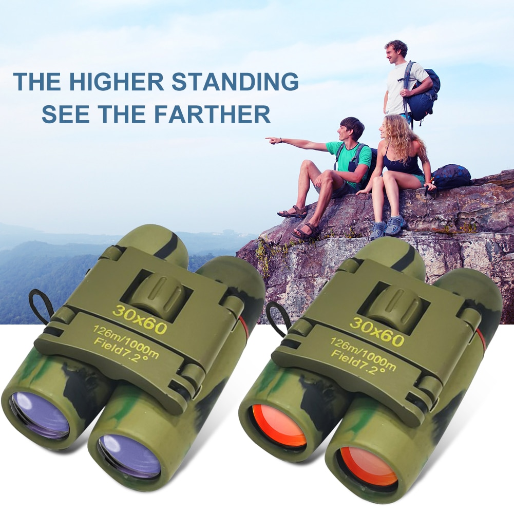 Pocket Mini Binoculars Camouflage Double Tube Day And Night Vision 30x60 ZOOM Compact Foldable Binoculars for Hiking Hunting