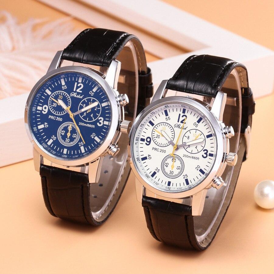 Relógio de Quartzo Relógios de Pulso Pulseira de Couro Moda Masculino Azul-ray Vidro Simula Pulso Epidérmico Relógios Hombres Hora Reloj