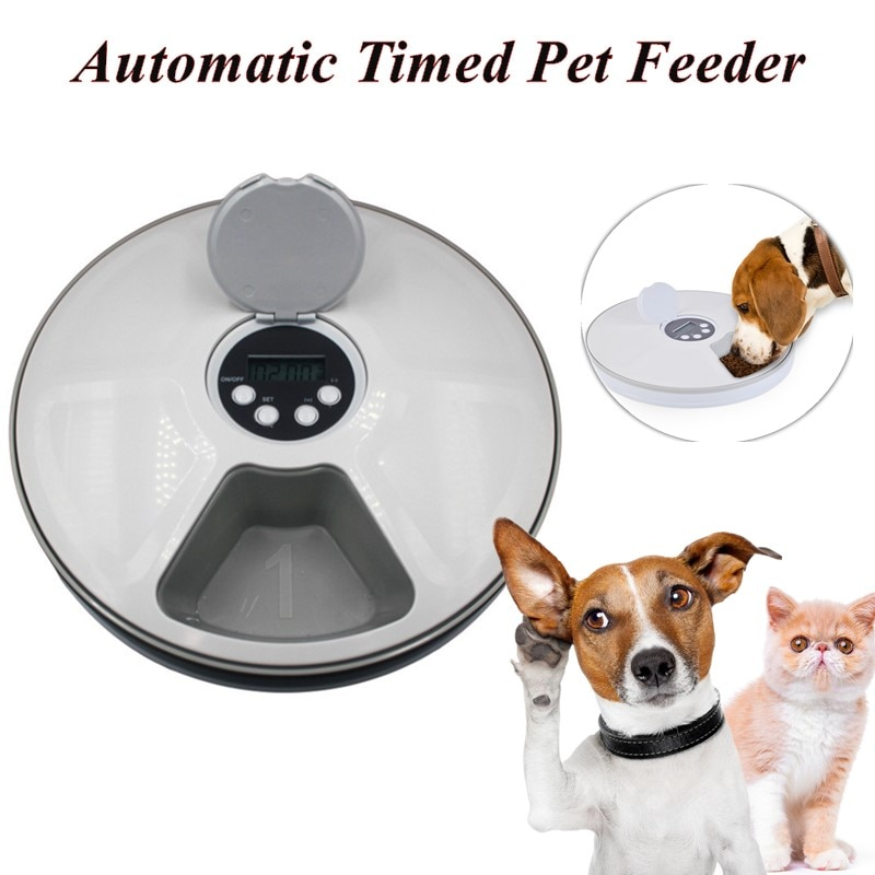 Round Timing Feeder Automatic Pet Feeder 6 Meals 6 Grids Cat Dog Electric Dry Food Dispenser 24 Hour