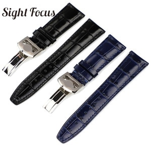 Curved End Calf Leather 22MM Watch Strap for IWC PILOT Mark PORTOFINO Watchband Folding Clasp Black Coffee Blue Bracelet for Man