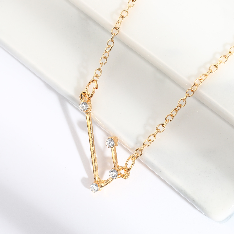 Trendy Shiny Crystal Star Zodiac Sign 12 Constellation Pendant Necklace Star Zodiac Sign Necklace Best Friend Gift Fashion Charm