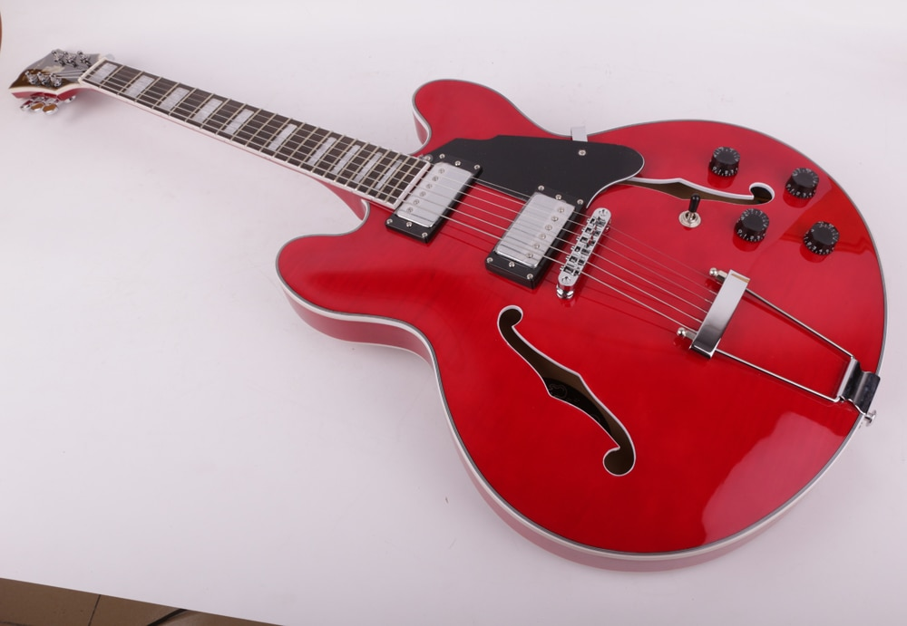 Good quality jazz hollow body f hole red double cutaway electric guitar free shipping enlarge