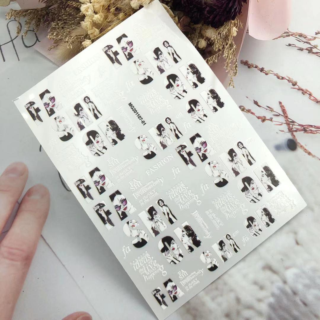 3D Nail Stickers New Fashion Girl Avatar Design DIY Skills Nail Art Decoration Packaging Self-adhesive Transfer Decal Slider