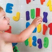 Jouets de bain en lettres alphanumériques   Ensemble de 36 pièces, Puzzle de bain doux EVA, jouets de salle de bains pour enfants, jouet de bain à succion éducative et précoce