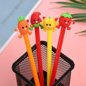 4Pcs Kawaii Vegetable Gel Pen Cartoon Tomato Carrot School Office Supplies Cute Stationery Gift Black Ink 0.5mm Signature Pens