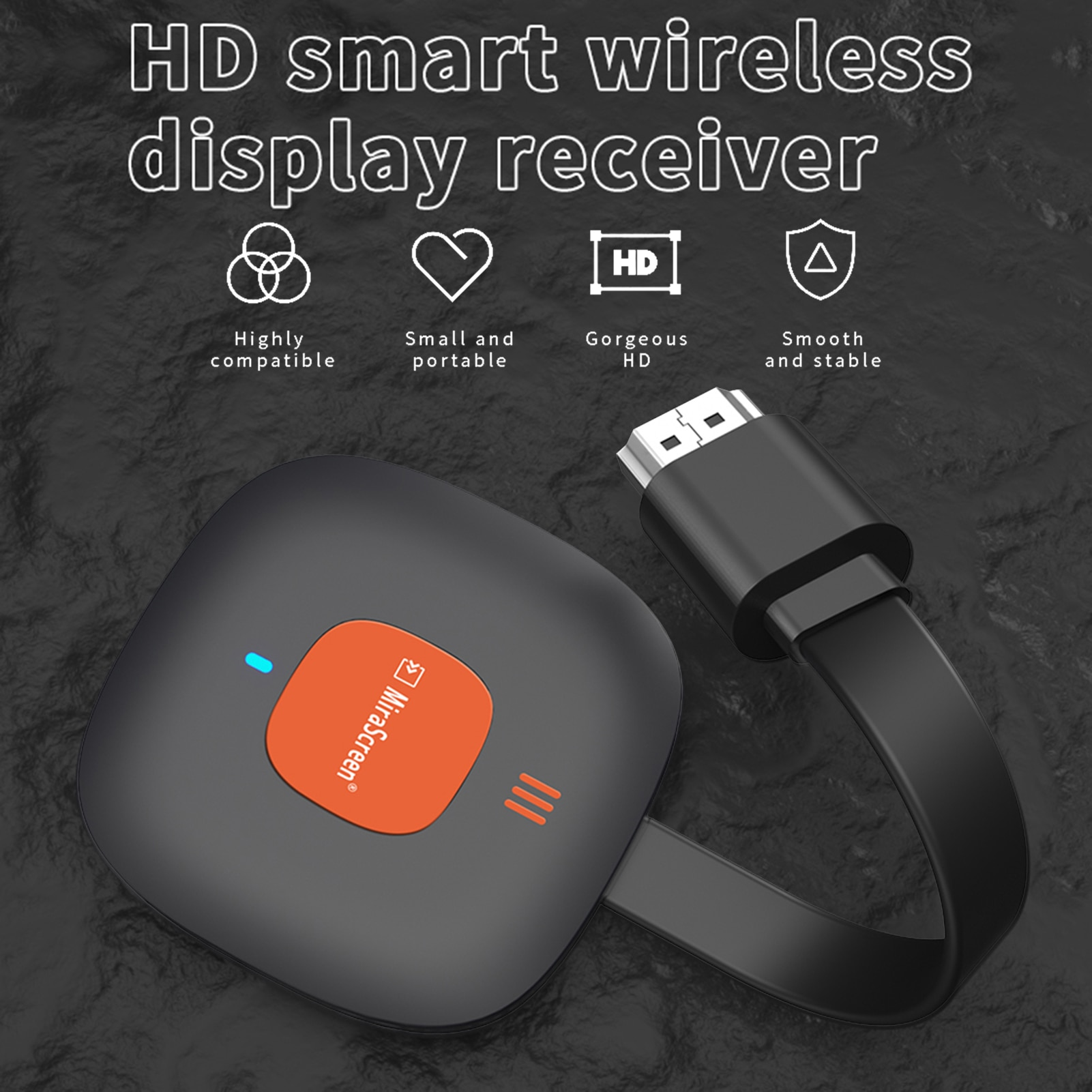 Wireless Display Dongle Portable HDMI Display Receiver Screen Mirroring Device Home Audio And Video