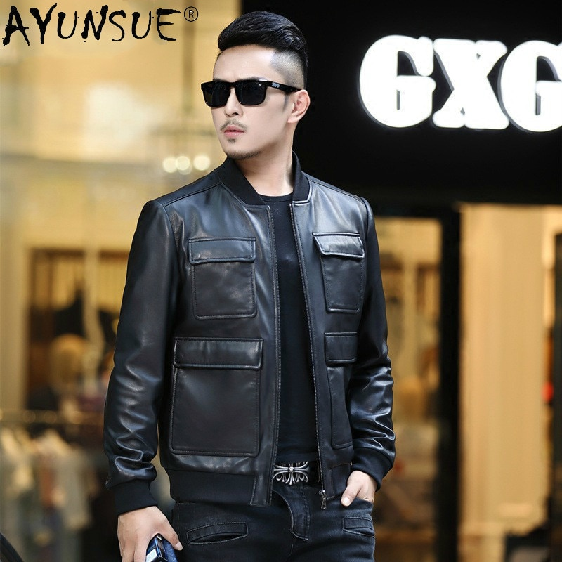 Man Jacket Autumn Clothes Genuine Sheepskin Leather Jackets for Men Clothing Motorcycle Coat Chaquetas Hombre LXR882