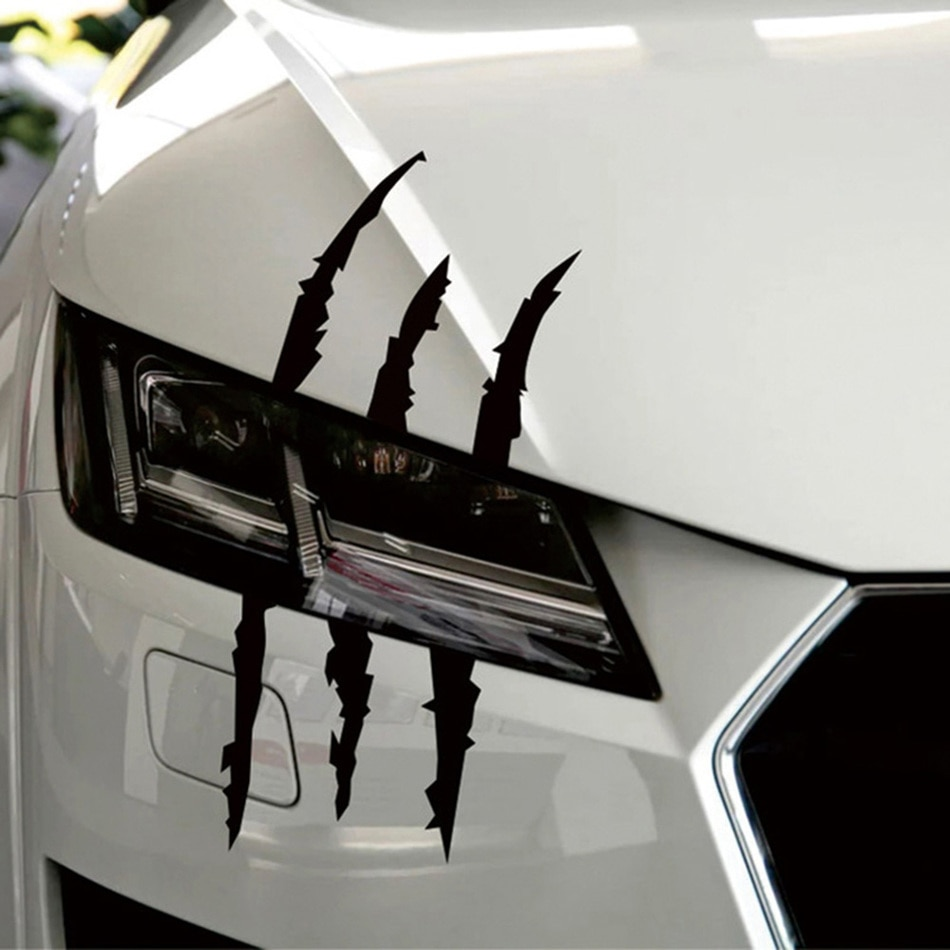 37cm*9cm Funny Car Sticker Reflective Monster Scratch Stripe Claw Marks Car Auto Headlight Decoration Decal Car Stickers
