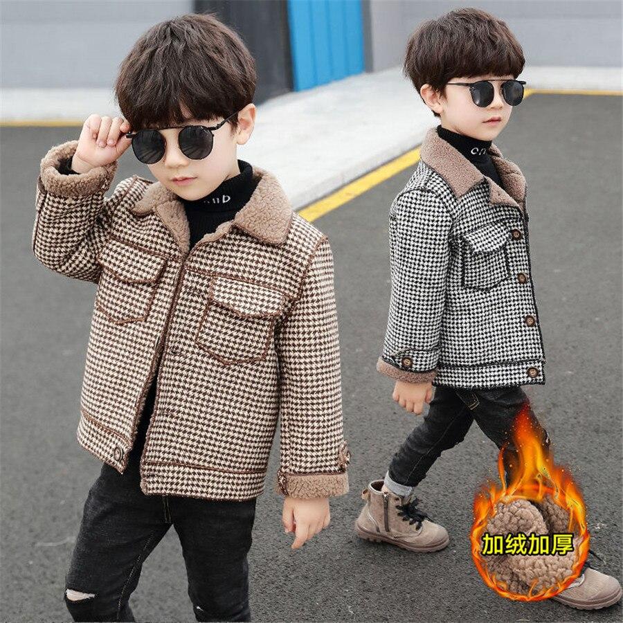 2020 высокое качество, дети, пальто Шерстяное пальто для мальчиков; Модная осенне-зимняя куртка для мальчика в клетку, теплое детское зимнее пальто От 2 до 10 лет-1