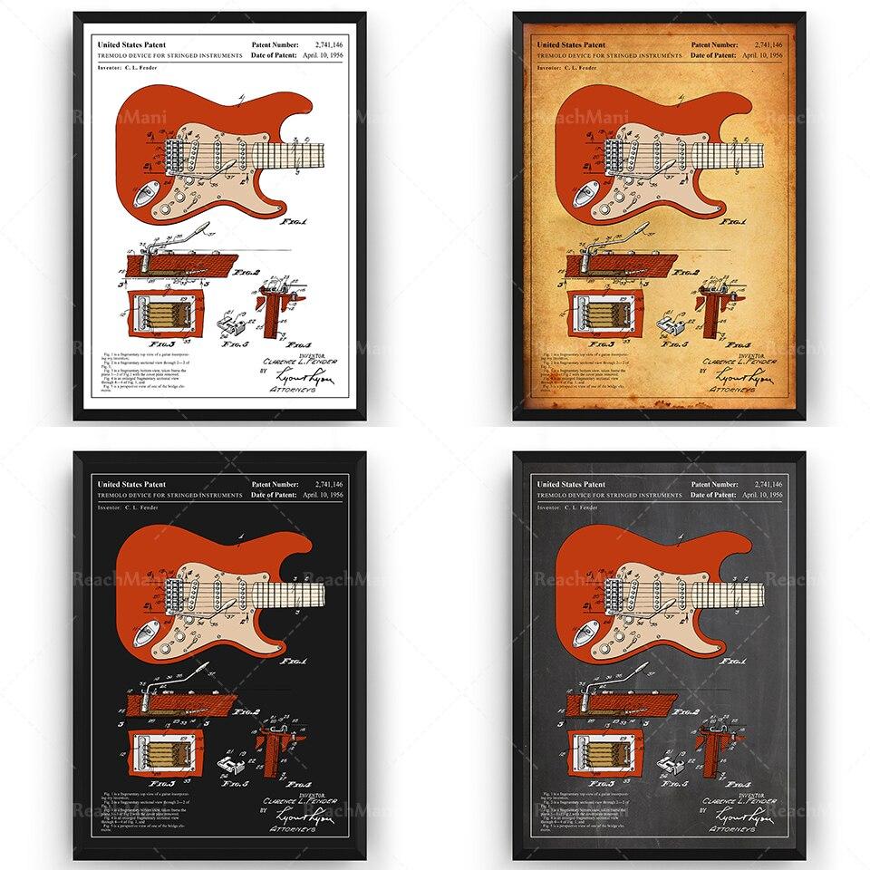 Fender-guitarra colourada Stratocaster 1954, cartel artístico de pared, regalos de Blueprint