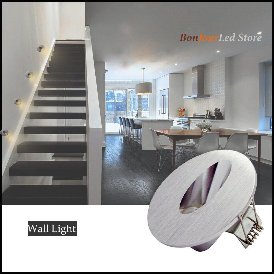 Envío gratis 1w/3w Luz de escalera Led empotrada luces de pared de esquina redonda escaleras escalones pasillo escalera lámpara AC85-265V