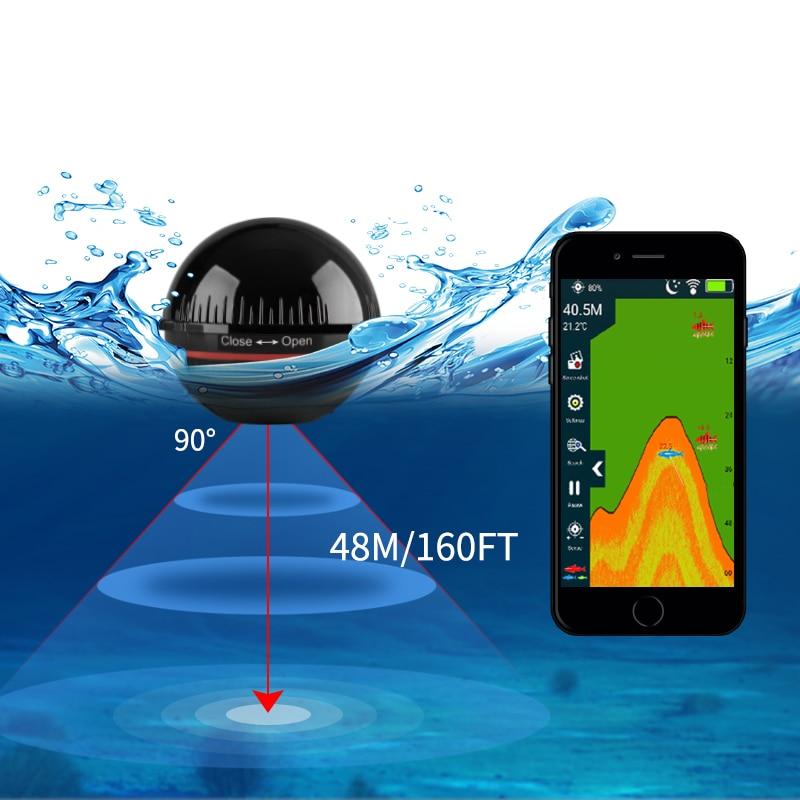 Erchang xa02 fish finder for fihsing 48m/160ft wireless depth eco sonar sea sonar portable lake in russian warehouse