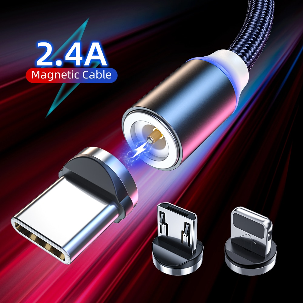 Magnetic USB Cable LED Fast Charging Micro USB Type C Cable For iPhone 12 Xiaomi Magnet Charger 3M U