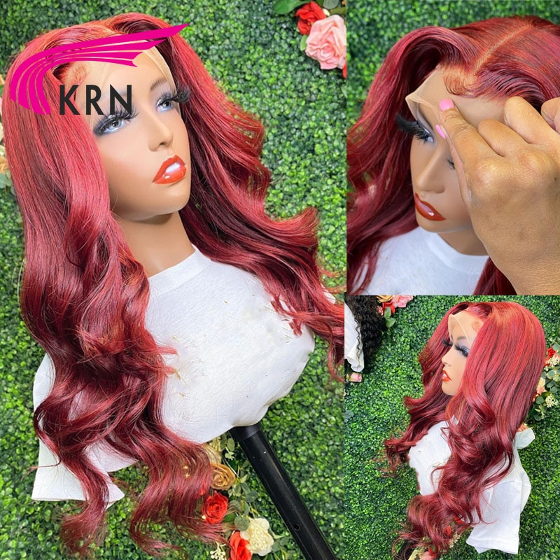 Red 13X4 Lace Front Wigs For Women Hair 180% Density Wavy Brazilian Remy Colored Red 13x4 4x4 Lace F