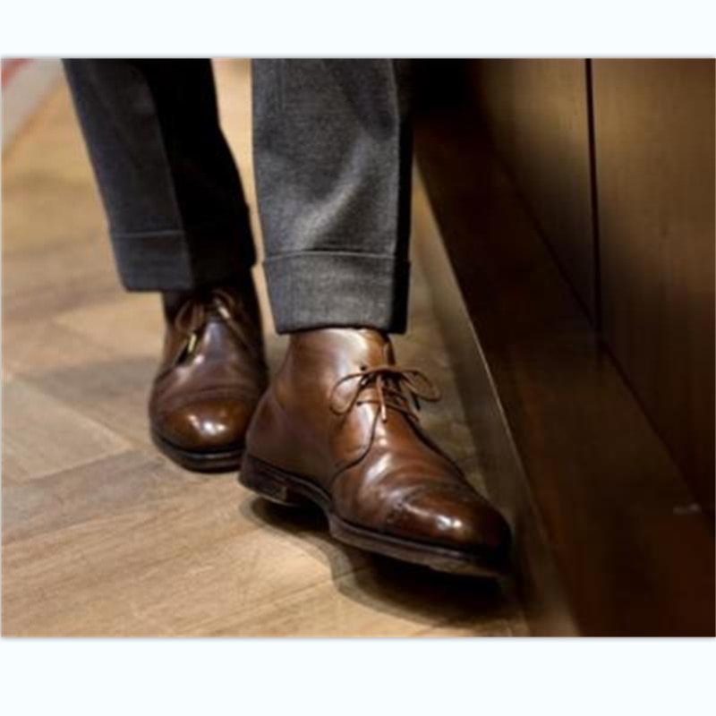 2021 New Men Fashion Business Casual Daily All-match Dress Shoes Handmade Brown PU Classic Wingtip L