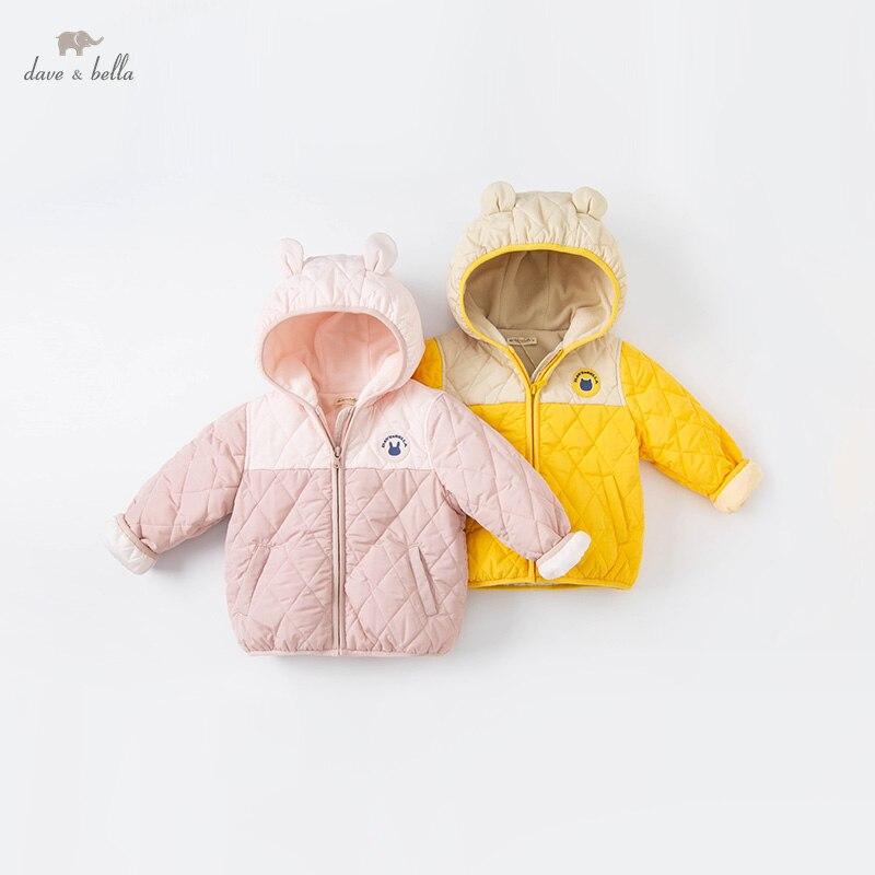 DBW20165 ديف بيلا الشتاء الطفل للجنسين موضة الكرتون جيوب معطف مبطّن الأطفال الفتيات الفتيان بلايز الرضع طفل ملابس خارجية