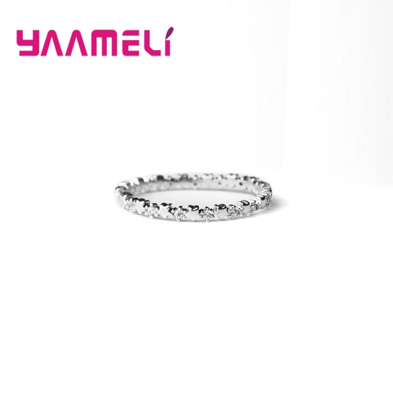 HOT SALE Silver 925 Star Ring for Women Girls Wedding Engagement Party 100% 925 Sterling Silver Stac