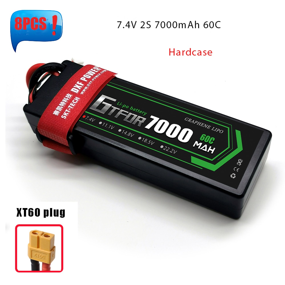 GTFDR Lipo Battery 2S Lipo 7000mAh 6500mAh 5200mAh 7.4V 50C 60C 100C 120C For RC 1/10 off-Road Car Truck Boats enlarge