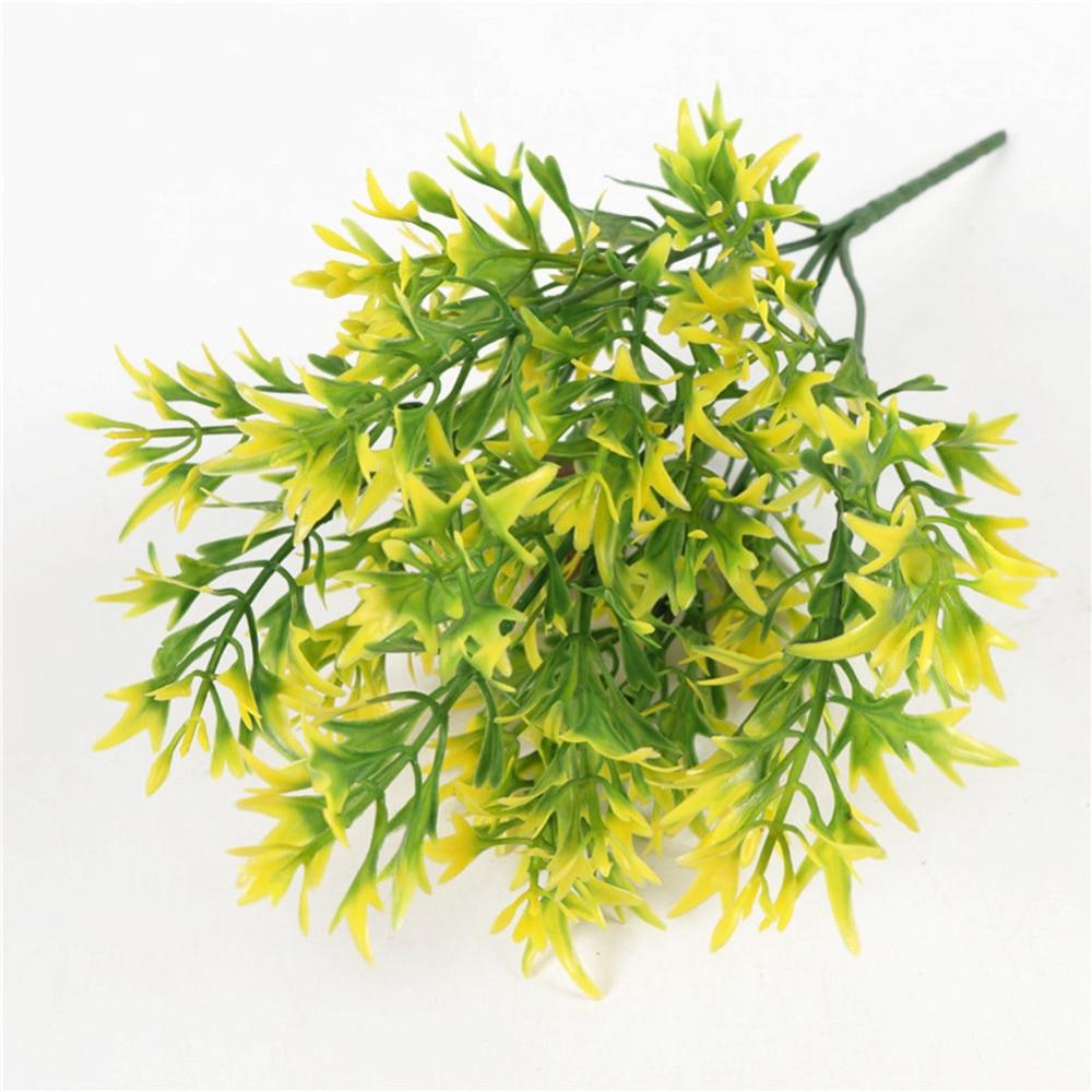 5 tenedores crisantemo Artificial Rural hojas maceta con césped Planta flores bonsái falsas maceta para la decoración de la fiesta de la boda en casa