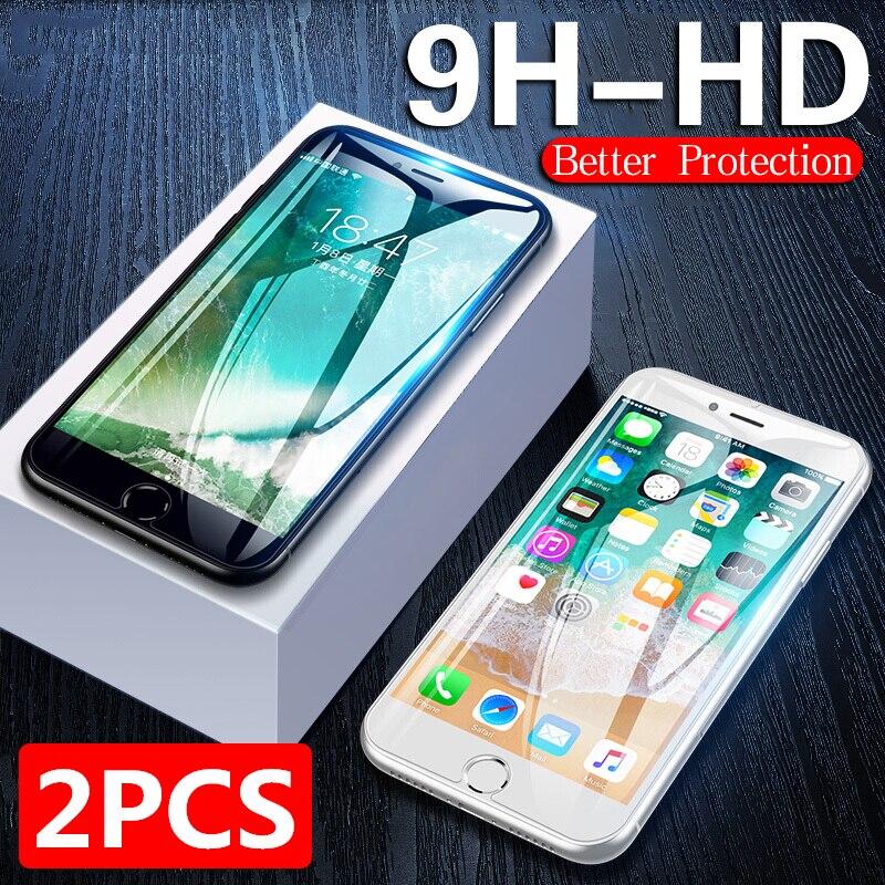 2 uds. Vidrio Protector para iPhone 6 6s 7 8 Plus X 10 vidrio Protector de pantalla vidrio templado para iPhone XS MAX XR 11 Pro Max