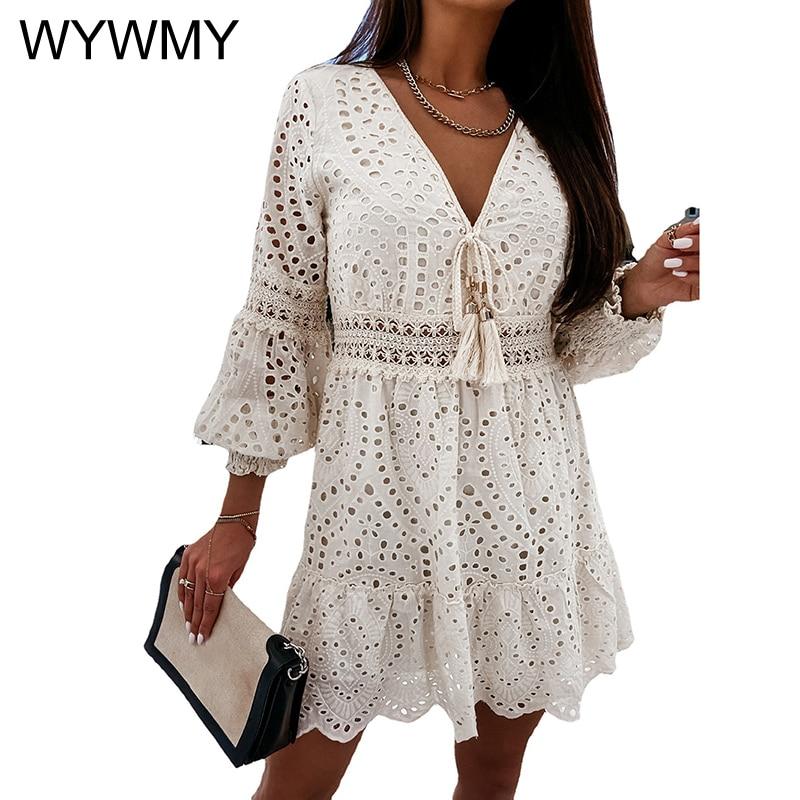 WYWMY Spring Autumn Women Dresses Solid Color Embroidery Lace Up Design Ruffle Dress Elegant Beach Party A-Line Mini Lace Dress plain lace embroidery a line beach dress