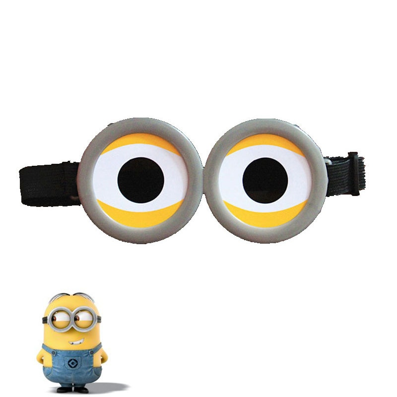 Funny Decorative Minions Cosplay Costume Glasses Party Props 3D Circular Glass Birthday Party Suppli
