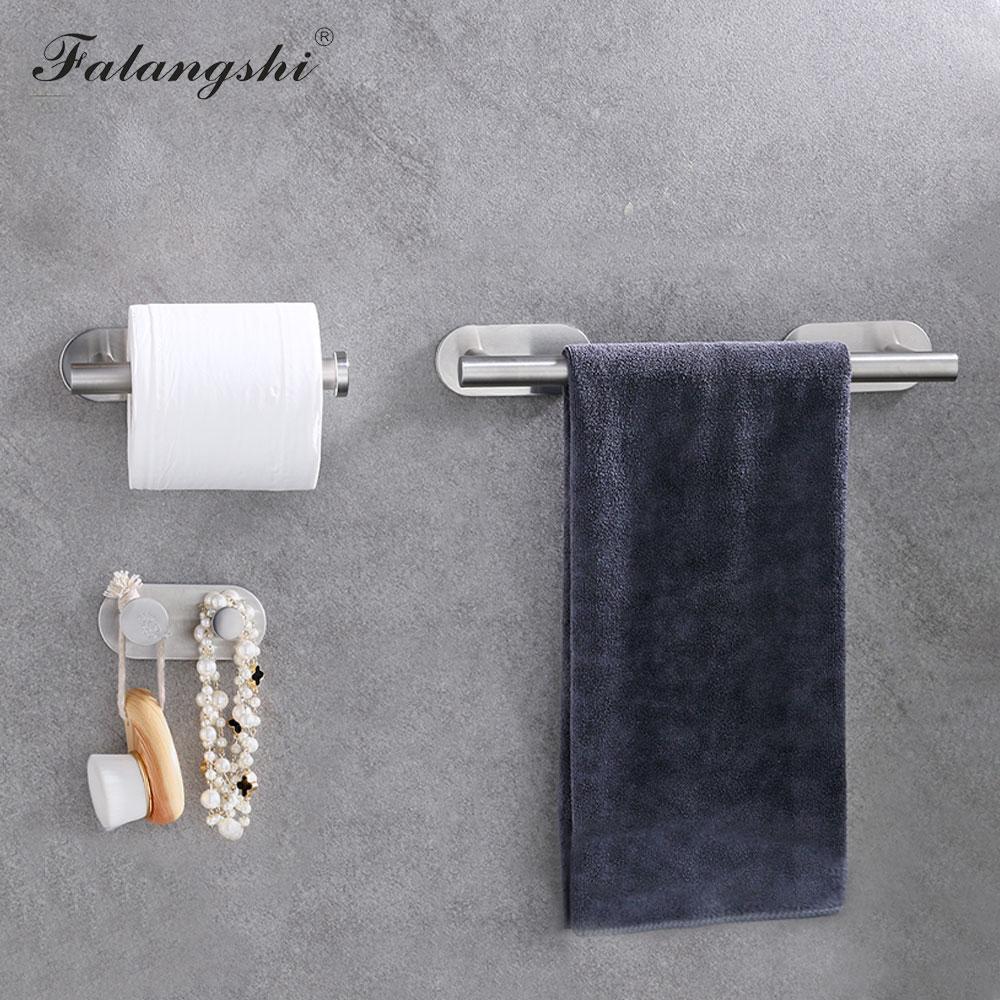 Juego de accesorios para el baño, Portarrollos de papel de gancho para batas, barra de toalla individual, adhesivo 3M, fácil instalación, accesorios para el baño WB8863