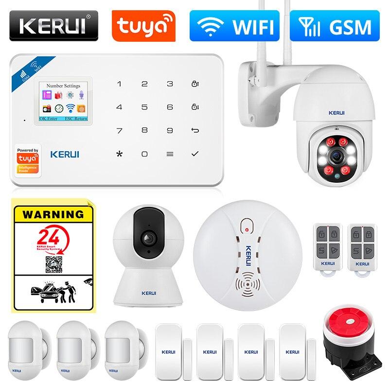 KERUI Tuya Smart WIFI GSM Security Alarm System Works With Alexa Home Burglar Motion Detector Smoke Door Window Sensor IP Camera