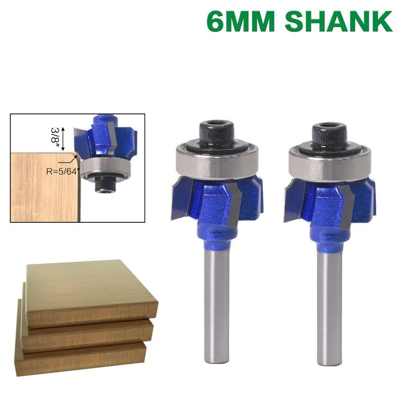 3 piezas 6mm vástago alta calidad carpintería fresadora cortador R1mm R2mm R3mm Borde de Cuchilla de recorte 4 dientes madera Router Bit